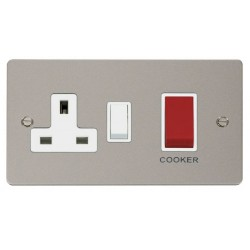 Click Define Pearl Nickel Flat Plate 45A Double Pole Switch and 13A Double Pole Switched Socket with Whit...
