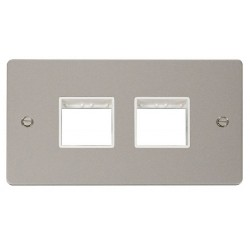 Click Define Pearl Nickel Flat Plate 2 Gang Plate (2+2) Switch Aperture with White Insert