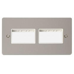 Click Define Pearl Nickel Flat Plate 2 Gang Plate (3+3) Switch Aperture with White Insert