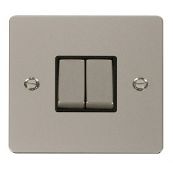 Click Define Pearl Nickel Flat Plate Ingot 10AX 2 Gang 2 Way Switch with Black Insert