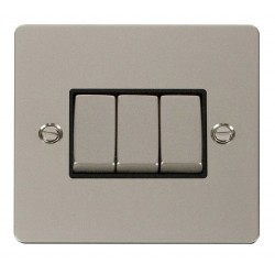 Click Define Pearl Nickel Flat Plate Ingot 10AX 3 Gang 2 Way Switch with Black Insert