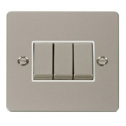 Click Define Pearl Nickel Flat Plate Ingot 10AX 3 Gang 2 Way Switch with White Insert