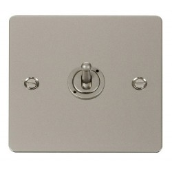 Click Define Pearl Nickel Flat Plate 10AX 1 Gang 2 Way Toggle Switch