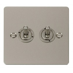 Click Define Pearl Nickel Flat Plate 10AX 2 Gang 2 Way Toggle Switch