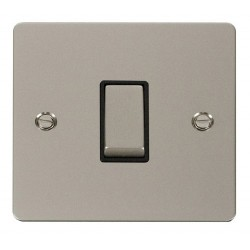 Click Define Pearl Nickel Flat Plate Ingot 10AX 1 Gang Intermediate Switch with Black Insert