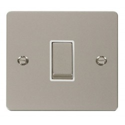 Click Define Pearl Nickel Flat Plate Ingot 10AX 1 Gang Intermediate Switch with White Insert