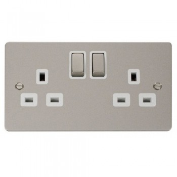 Click Define Pearl Nickel Flat Plate Ingot 2 Gang 13A Double Pole Switched Socket with White Insert