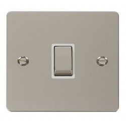 Click Define Pearl Nickel Flat Plate Ingot 20A 1 Gang Double Pole Switch with White Insert