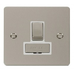 Click Define Pearl Nickel Flat Plate Ingot 13A Switched Connection Unit with White Insert