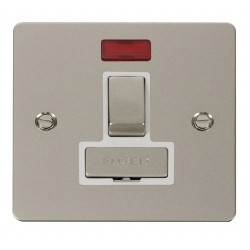 Click Define Pearl Nickel Flat Plate Ingot 13A Switched Connection Unit with Neon with White Insert
