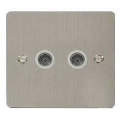 Click Define Stainless Steel Flat Plate 2 Gang Coaxial Socket with White Insert