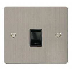 Click Define Stainless Steel Flat Plate Single RJ11 Socket (Ireland/USA) with Black Insert