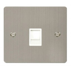 Click Define Stainless Steel Flat Plate Single RJ11 Socket (Ireland/USA) with White Insert