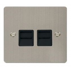 Click Define Stainless Steel Flat Plate Twin Telephone Socket Secondary with Black Insert