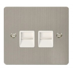 Click Define Stainless Steel Flat Plate Twin Telephone Socket Secondary with White Insert