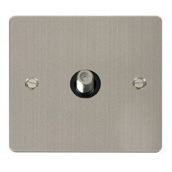 Click Define Stainless Steel Flat Plate 1 Gang Satellite Socket with Black Insert