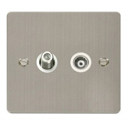 Click Define Stainless Steel Flat Plate 1 Gang Satellite and Isolated Coaxial Socket with White Insert