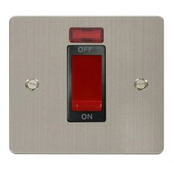 Click Define Stainless Steel Flat Plate 1 Gang 45A Double Pole Switch with Neon with Black Insert