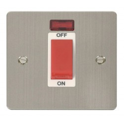 Click Define Stainless Steel Flat Plate 1 Gang 45A Double Pole Switch with Neon with White Insert
