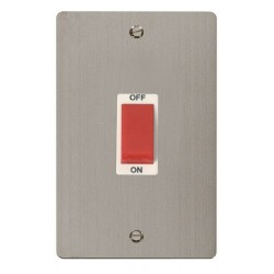 Click Define Stainless Steel Flat Plate 2 Gang 45A Double Pole Switch with White Insert