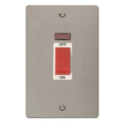 Click Define Stainless Steel Flat Plate 2 Gang 45A Double Pole Switch with Neon with White Insert