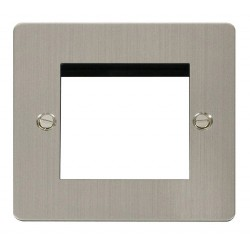 Click Define Stainless Steel Flat Plate 1 Gang Twin Aperture