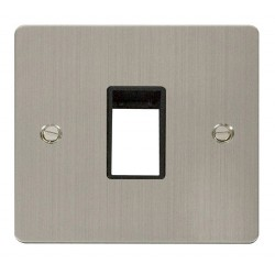 Click Define Stainless Steel Flat Plate 1 Gang Plate Single Switch Aperture with Black Insert