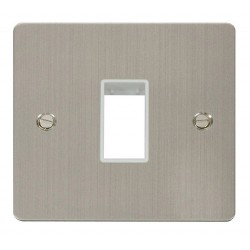 Click Define Stainless Steel Flat Plate 1 Gang Plate Single Switch Aperture with White Insert