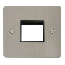 Click Define Stainless Steel Flat Plate 1 Gang Plate Twin Switch Aperture with Black Insert