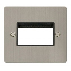 Click Define Stainless Steel Flat Plate 1 Gang Plate Triple Switch Aperture with Black Insert