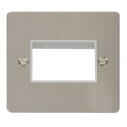 Click Define Stainless Steel Flat Plate 1 Gang Plate Triple Switch Aperture with White Insert