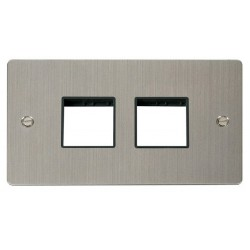 Click Define Stainless Steel Flat Plate 2 Gang Plate (2+2) Switch Aperture with Black Insert