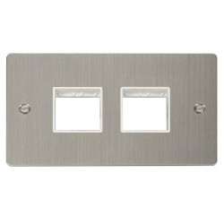 Click Define Stainless Steel Flat Plate 2 Gang Plate (2+2) Switch Aperture with White Insert