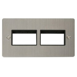 Click Define Stainless Steel Flat Plate 2 Gang Plate (3+3) Switch Aperture with Black Insert