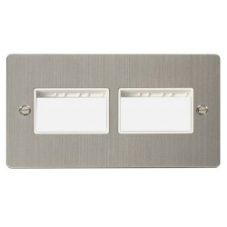 Click Define Stainless Steel Flat Plate 2 Gang Plate (3+3) Switch Aperture with White Insert