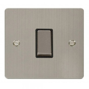 Click Define Stainless Steel Flat Plate Ingot 10AX 1 Gang 2 Way Switch with Black Insert