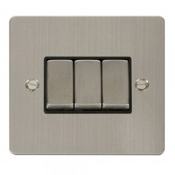Click Define Stainless Steel Flat Plate Ingot 10AX 3 Gang 2 Way Switch with Black Insert