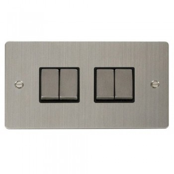 Click Define Stainless Steel Flat Plate Ingot 10AX 4 Gang 2 Way Switch with Black Insert