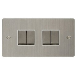 Click Define Stainless Steel Flat Plate Ingot 10AX 4 Gang 2 Way Switch with White Insert