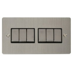 Click Define Stainless Steel Flat Plate Ingot 10AX 6 Gang 2 Way Switch with Black Insert