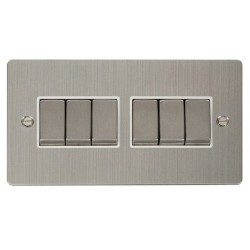 Click Define Stainless Steel Flat Plate Ingot 10AX 6 Gang 2 Way Switch with White Insert