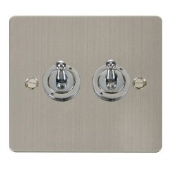 Click Define Stainless Steel Flat Plate 10AX 2 Gang 2 Way Toggle Switch