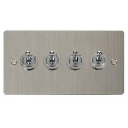 Click Define Stainless Steel Flat Plate 10AX 4 Gang 2 Way Toggle Switch