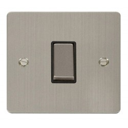 Click Define Stainless Steel Flat Plate Ingot 10AX 1 Gang Intermediate Switch with Black Insert