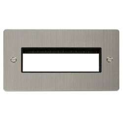 Click Define Stainless Steel Flat Plate 2 Gang Plate 6 In-Line Switch Aperture with Black Insert