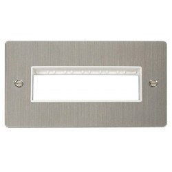 Click Define Stainless Steel Flat Plate 2 Gang Plate 6 In-Line Switch Aperture with White Insert