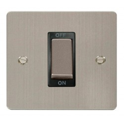 Click Define Stainless Steel Flat Plate Ingot 1 Gang 45A Double Pole Switch with Black Insert