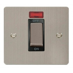 Click Define Stainless Steel Flat Plate Ingot 1 Gang 45A Double Pole Switch With Neon with Black Insert