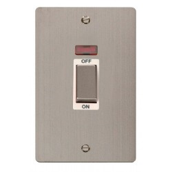 Click Define Stainless Steel Flat Plate Ingot 2 Gang 45A Double Pole Switch With Neon with White Insert