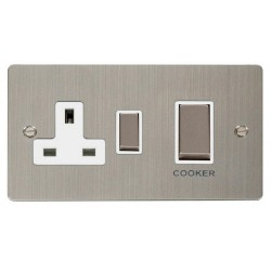Click Define Stainless Steel Flat Plate Ingot 45A Double Pole Switch and 13A Switched Socket with White Insert